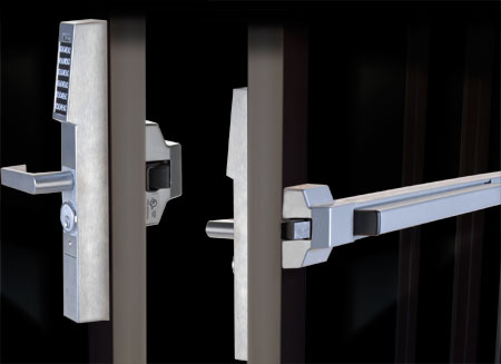 Alarm Lock's Trilogy narrow stile exit decive trim locks